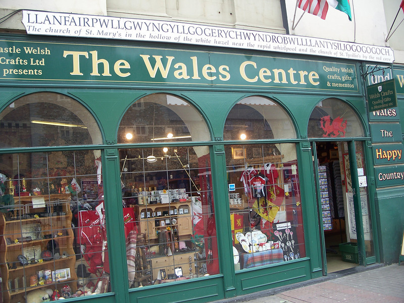 Check out the longest Welsh word (it's the white part above the store front)