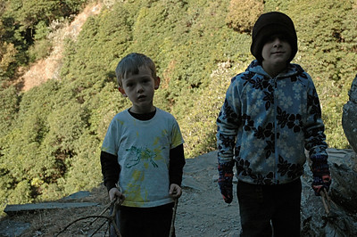 Andy with Benjamin, hiking to Triund pass in Dharamsala.