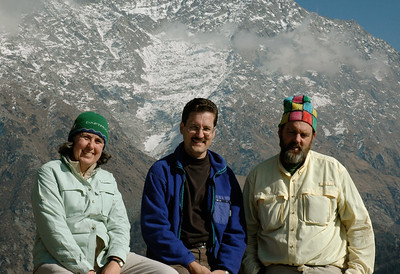 Chubbers in the Himalaya! David with Kathy and David in the Triund pass above Dharamsala, India, on New Year's day.