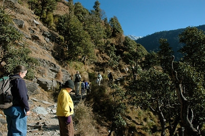 Pam and John hiking in Dharamsala; A sense of the terrain.  [Dharamsala to Triund.]