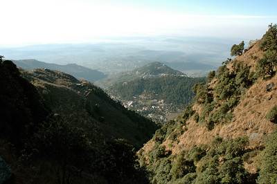 A glance back at Dharamsala and the broad plains beyond. [Dharamsala to Triund.]
