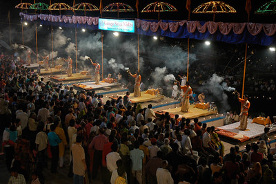 Aarti ceremony on the shore of the River Ganges, Varanasi.