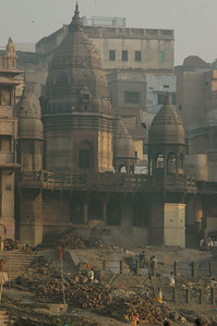 Varanasi sunrise: this cremation ghat sometimes do 200 cremations a day.