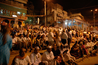 Varanasi: thousands of pilgrims (and tourists) attend Aartri at this and other ghats.