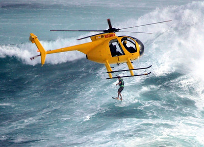 Helicopter looking down on surfer Jaws