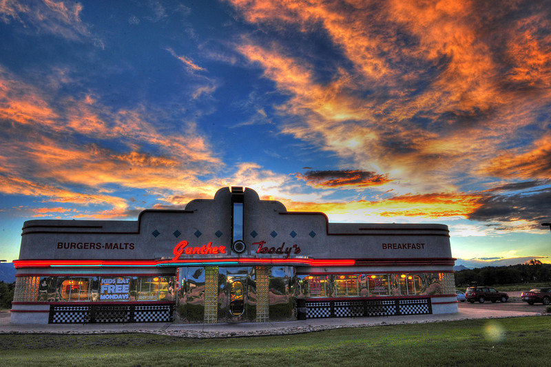 Gunther Toody's HDR at Sunset, Colorado Springs, CO  A great place for a 50's era meal and atmosphere