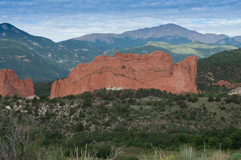 View of Pikes Peak with Garden of the Gods in the foreground