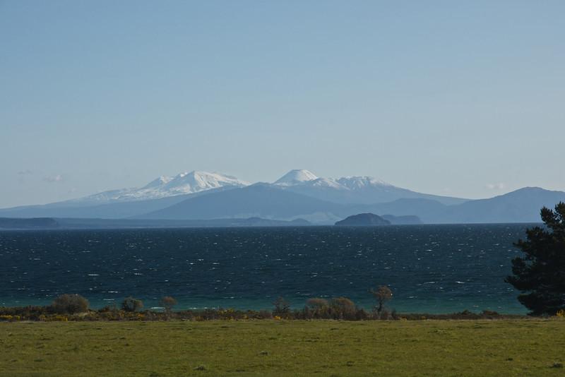 Tongariro National Park with lake Taupo in forground