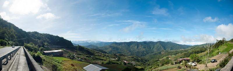 Stitched Panorama of Kundasang from the side of the road.