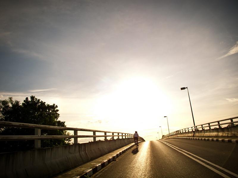 On the tallest bridge in Miri, Sarawak.