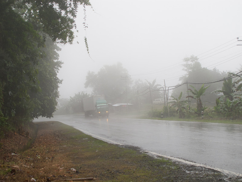 Caught in heavy rain on the way to Kundasang, Sabah.