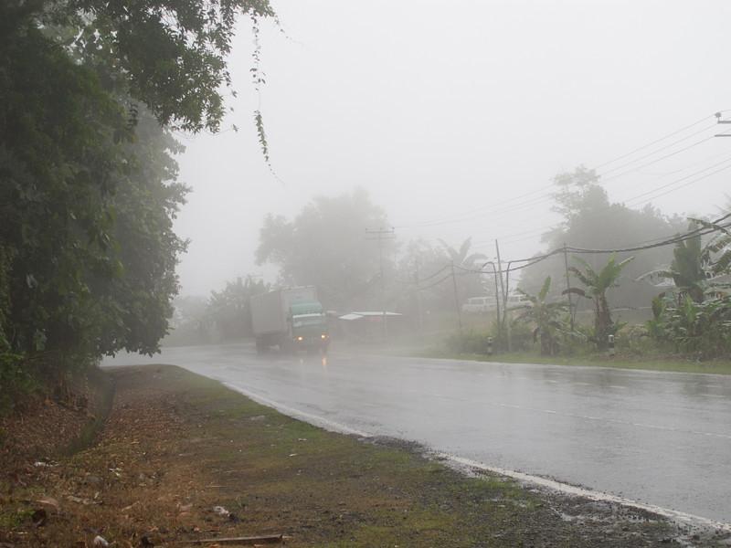 Caught in heavy rain on the way to Kundasang, Sabah.
