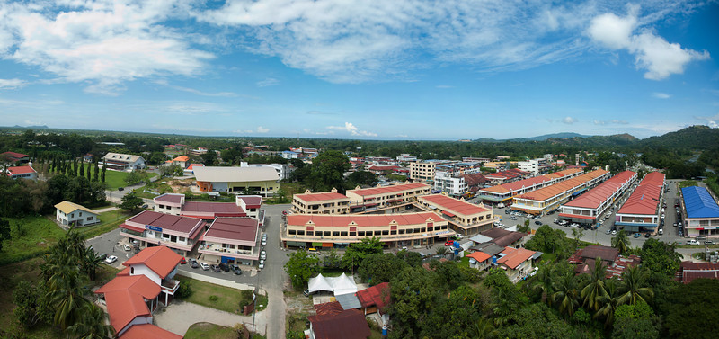 Stitched Panorama of Tuaran town, Sabah.