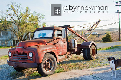 """Romeo and Tow Tater.  Tow Tater was the inspiration for the character """"Tow Mater"""" in Pixar's movie """"Cars""""."""