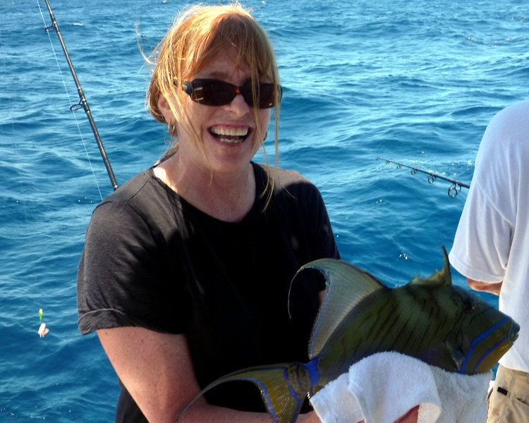 Nancy caught a Queen Trigger Fish.  We let it go.