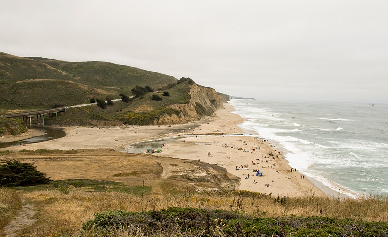 August 1, 2010 San Gregorio State Park. If you look in the middle of the photo on the path down the hill you will see a dot.  That's Tim