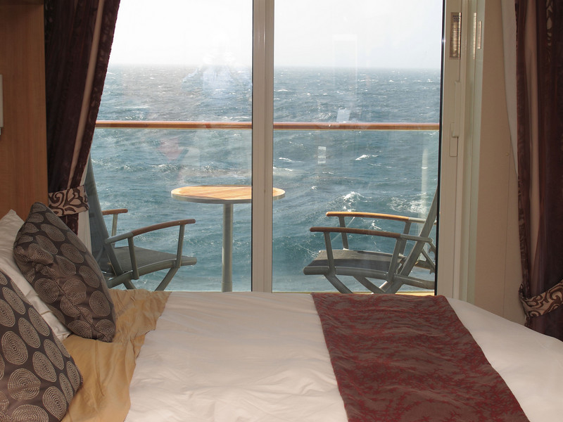Looking out beyond our veranda at a sea so rough that the captain had to cancel Punta Delgada as a port stop.