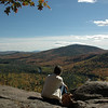 At the summit of Boulder Loop Trail near Conway, NH in the White Mountain National Forest