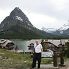 """Bob with """"Many Glacier Lodge"""" in background"""