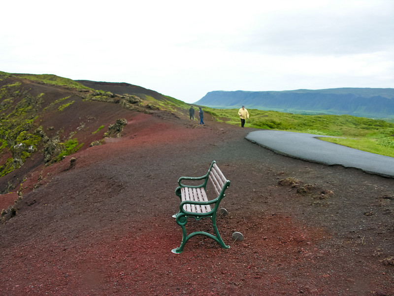 There is a crater to the left that this bench looks over. It was so very windy that day that you couldn't walk to the edges.