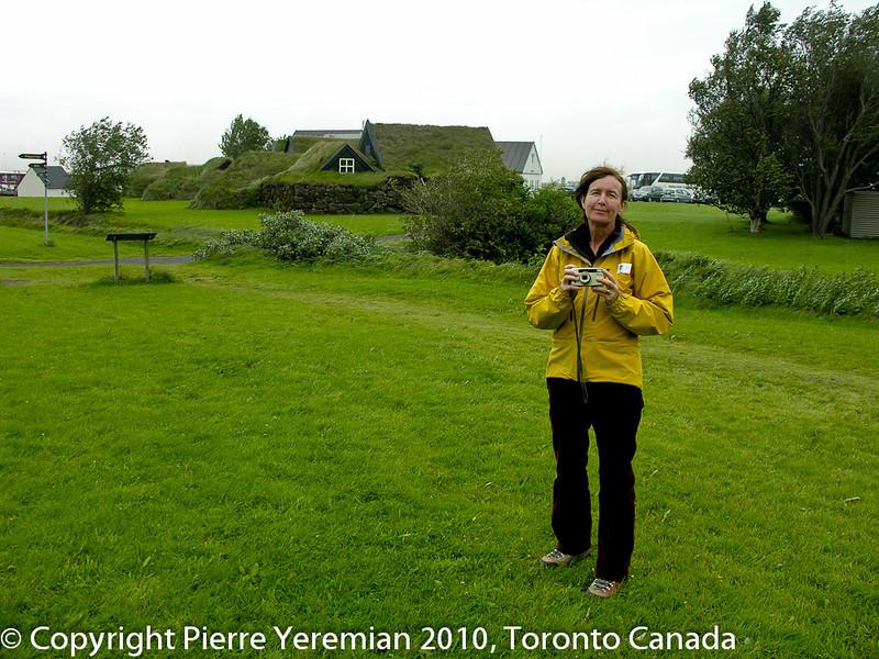 Iceland - LInda Yeremian at a historic site Skogar just past Skógafoss