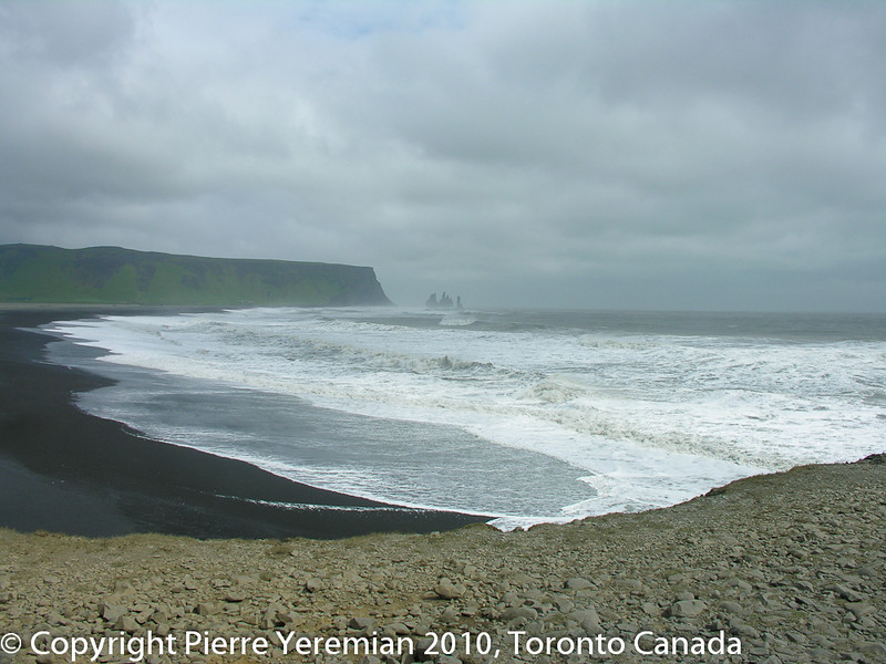 A place called Vik in Iceland with black volcanic sand and beautiful waves