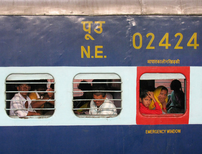 India Transportation: Second class train service.