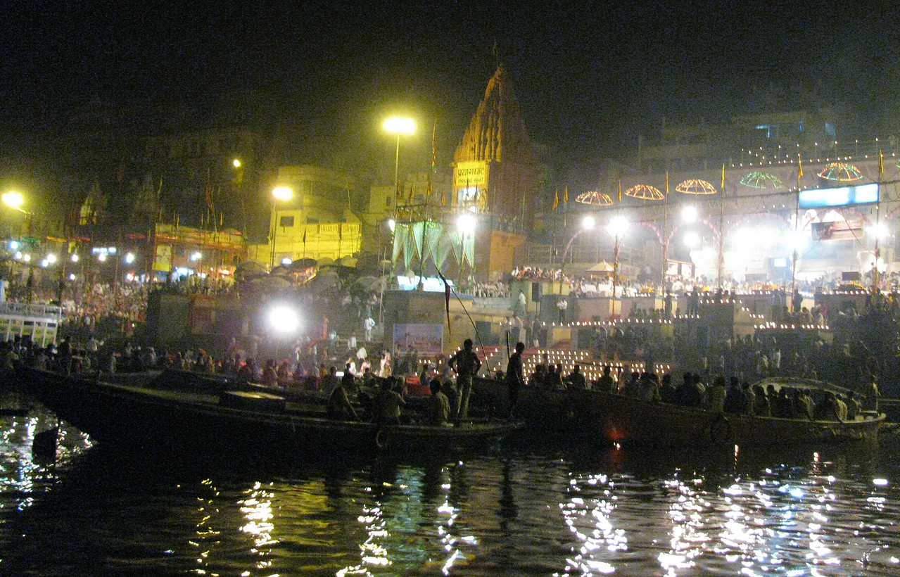 A Hindu light ceremony involving thousands of people on boats and on the banks of the Ganges - mesmerizing sights, sounds, and smells that are beyond description.