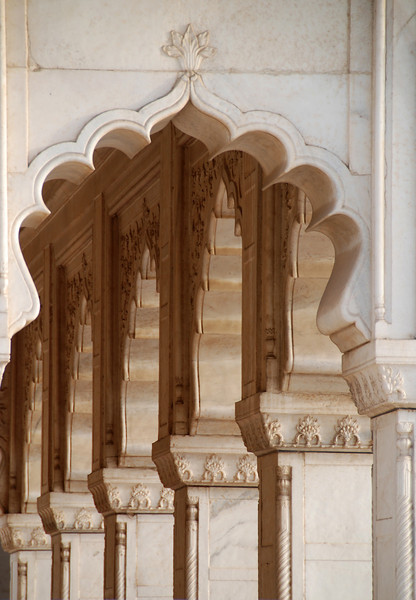 Arched columns of a palace on Fort Agra.