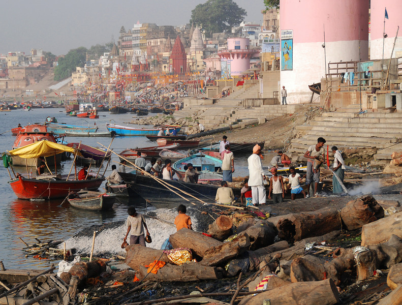 The Ganges River in Varanasi.  The foreground is the area wher they cremate bodies before the ashes are strewn in the waters of the Ganges..