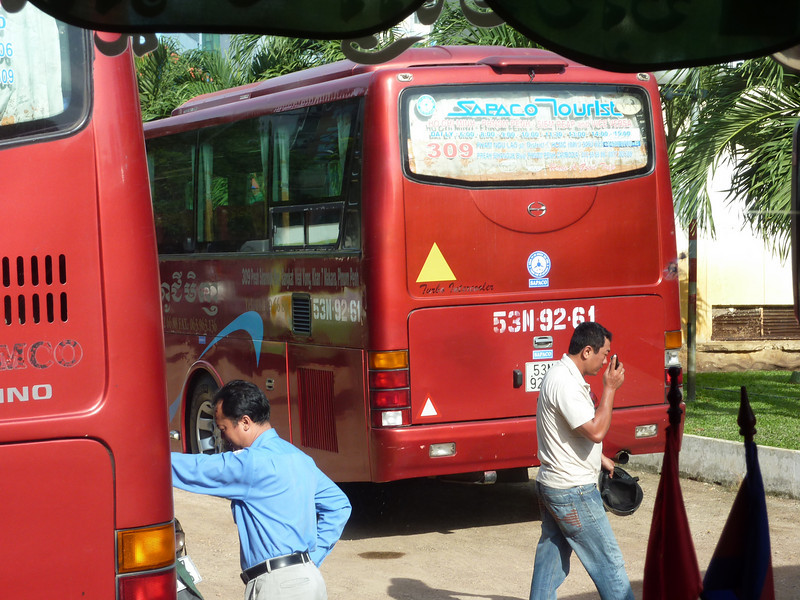 This is the bus that'll take our group, and other passengers, from HCM city  to the Cambodia border crossing  (3 hr ride)<br /> On the bus, we were served with water and a nice snack pack  (much better than North America domestic flights !).  And they handled all the immigration paper work for us.