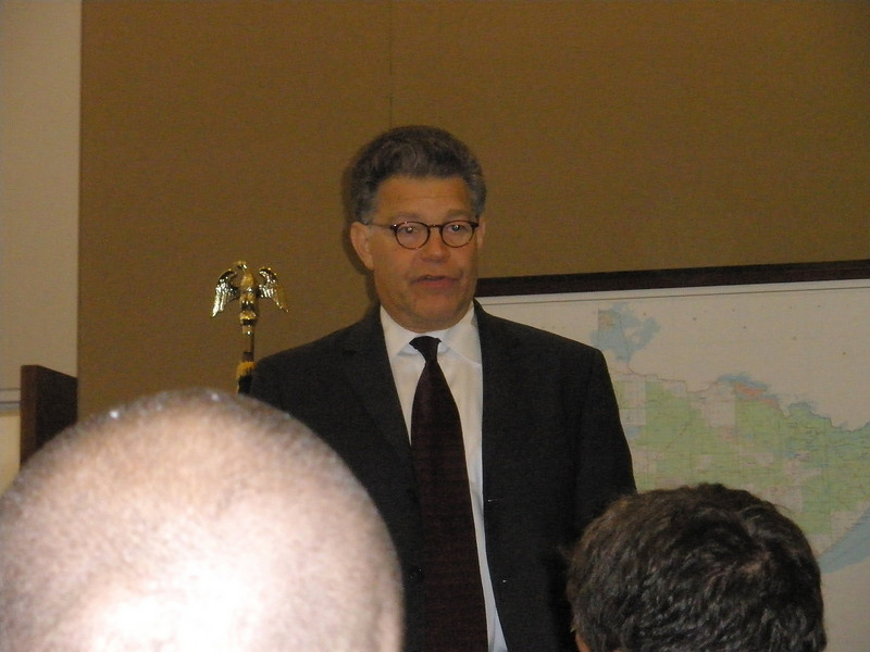 Senator Al Franken provides comments on Senate business as part of the Breakfast with Al in his office.