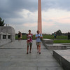 Julie and Tracey at WW II Memorial; Washington Monument in background