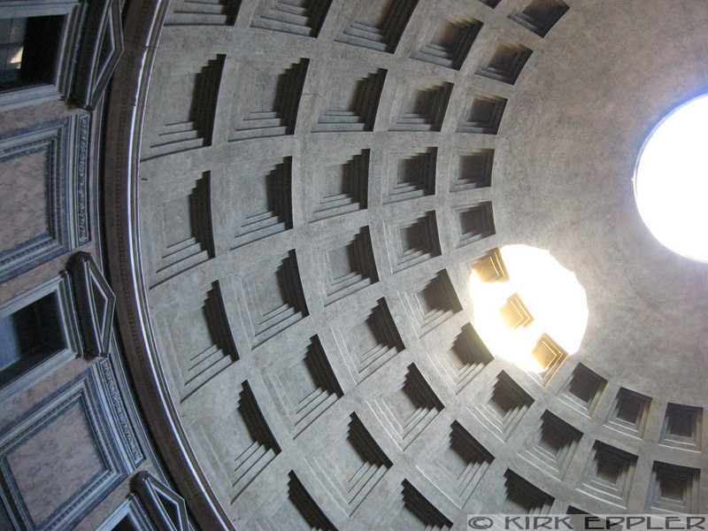 The hole in the roof of the Pantheon, and the circle it casts at 635pm