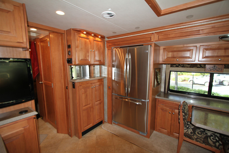 Residential refrigerator and mid-ship TV.