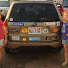 We're taking pictures for a San Jose Mercury News road trip scavenger hunt.  One of the pictures we need to submit is a parked car with at least 10 bumper stickers.  We were driving and saw this car driving through Taos and the girls insisted we follow it until it parked so we could get this picture.