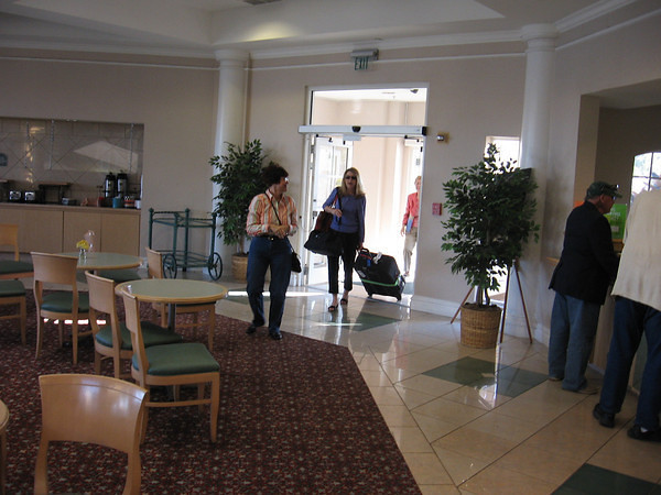 Marilyn arriving at LaQuinta with Janet and Phyllis greeting her