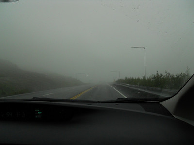 Dense fog at the summit of Thompson Pass near Valdez, Alaska