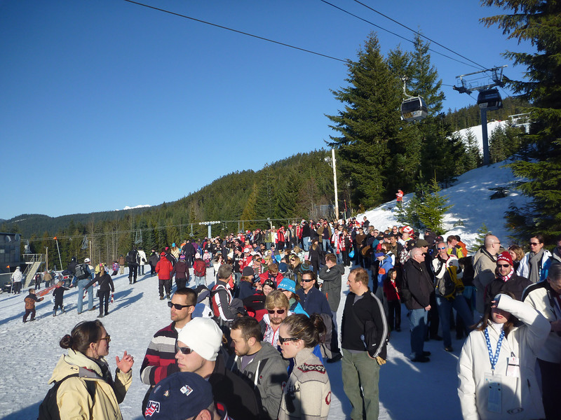 The line for getting into the bobsleigh.