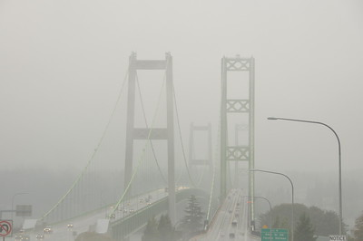 Crossing the Tacoma Narrows Bridge on a foggy day.