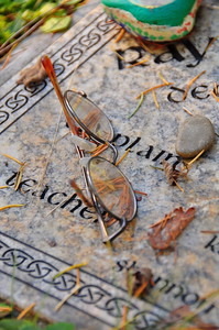 November 9, 2010 - A grave marker in the Delphi Pioneer Cemetery.
