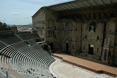 A 2,000 year old Roman theater.  Theatre Antique, Orange, Provence, France.