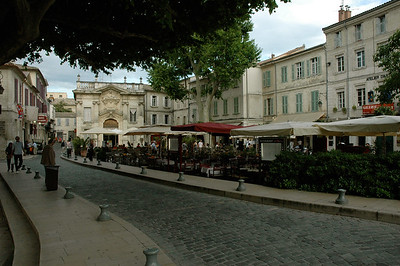 Inside are quiet streets and many cafes. Avignon, Provence, France.