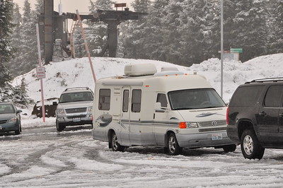 Parking lot at Timberline Lodge, Oregon. Early November.