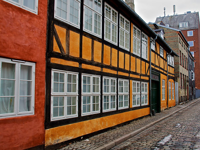 A colourful street in Copenhagen