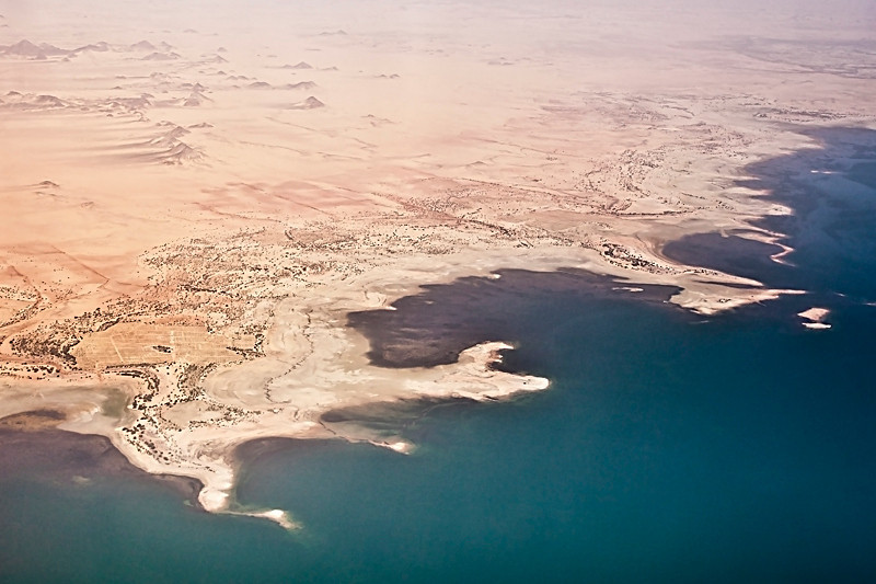 Flight from Answan to Abu Simbel<br /> <br /> The body of water pictured is Lake Nassar, which was created with the completion of the Answan High Dam in 1971.
