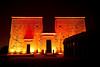 Sound and Light Show at Philae Temples. First Pylon of Temple of Isis. Answan<br /> <br /> The Philae Temples were originally built on Philae Island but were moved to higher ground at nearby Agilkia Island by UNESCO in 1972-1980 when they were threatened to be submerged by the development of the Answan High Dam.