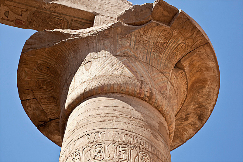 Opened papayrus capital in Hypostle Hall, Karnak Temple
