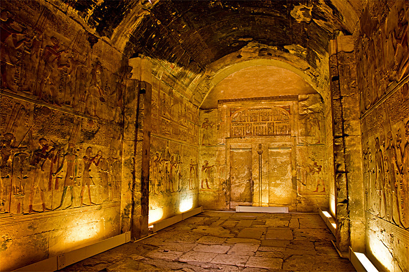 "Sanctuary of Amun-Re at Temple of Seti I, Abydos<br /> <br /> A closer look at one of the chapels/sanctuaries inside the temple. According to the Footprint Egyptian Handbook, ""Each sanctuary would contained the god's barque as well as his stela placed in front of a false door [at the end of the room]. The sanctuary was locked and only High Priests had access because the Ancient Egyptians believed that the gods lived in their sanctuaries."""