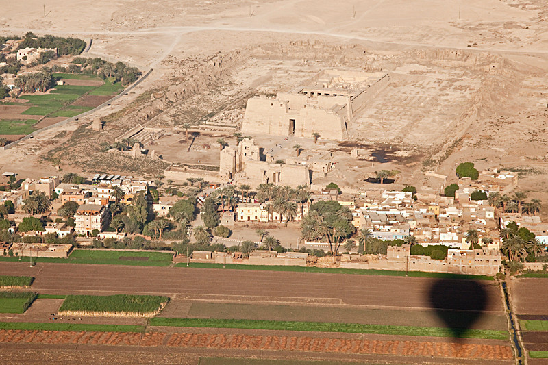 Flying by Medinet Habut Temple,  the mortuary temple of Ramses III.